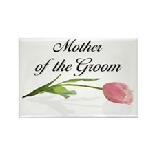 Pink Tulip Mother of Groom Rectangle Magnet