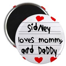 Sidney Loves Mommy and Daddy Magnet