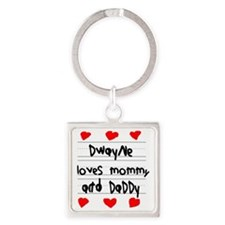 Dwayne Loves Mommy and Daddy Square Keychain
