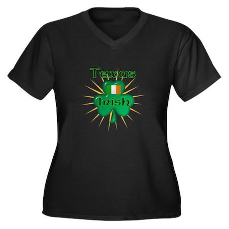 Texas Irish Women's Plus Size V-Neck Dark T-Shirt