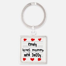 Emely Loves Mommy and Daddy Square Keychain