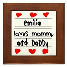 Emilia Loves Mommy and Daddy Framed Tile