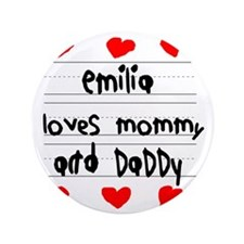 "Emilia Loves Mommy and Daddy 3.5"" Button"