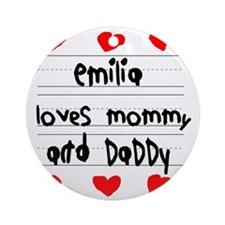 Emilia Loves Mommy and Daddy Round Ornament