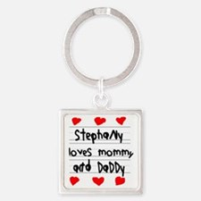 Stephany Loves Mommy and Daddy Square Keychain