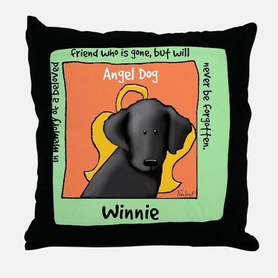 Winnie Black Lab Dog Angel Throw Pillow