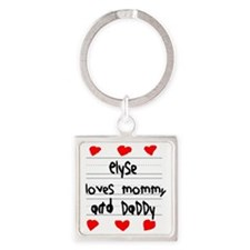 Elyse Loves Mommy and Daddy Square Keychain