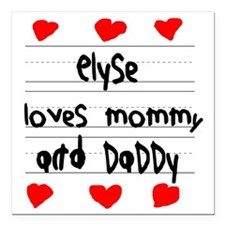 """Elyse Loves Mommy and Da Square Car Magnet 3"""" x 3"""""""