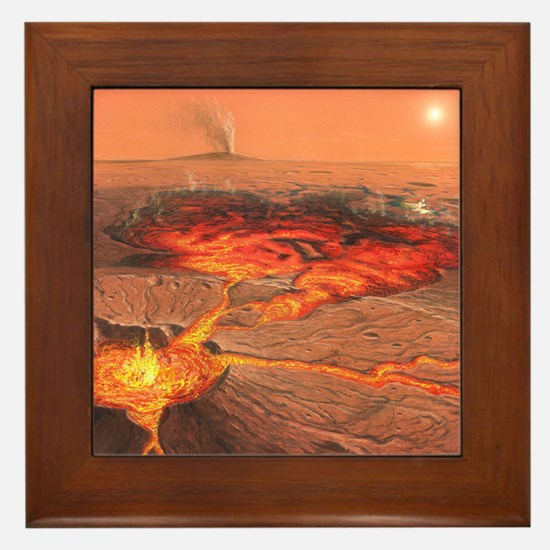 Martian volcanos Framed Tile