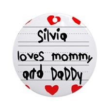 Silvia Loves Mommy and Daddy Round Ornament