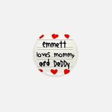 Emmett Loves Mommy and Daddy Mini Button