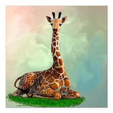 "Giraffe Square Car Magnet 3"" x 3"""