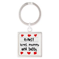 Ernest Loves Mommy and Daddy Square Keychain