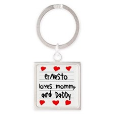 Ernesto Loves Mommy and Daddy Square Keychain