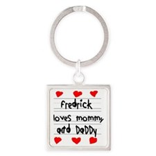 Fredrick Loves Mommy and Daddy Square Keychain