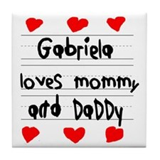 Gabriela Loves Mommy and Daddy Tile Coaster