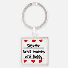 Susana Loves Mommy and Daddy Square Keychain
