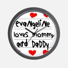 Evangeline Loves Mommy and Daddy Wall Clock