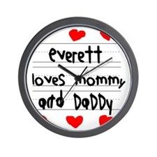 Everett Loves Mommy and Daddy Wall Clock