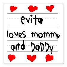 "Evita Loves Mommy and Da Square Car Magnet 3"" x 3"""