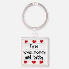 Tyree Loves Mommy and Daddy Square Keychain