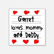 """Garret Loves Mommy and Dadd Square Sticker 3"""" x 3"""""""