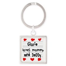 Gloria Loves Mommy and Daddy Square Keychain