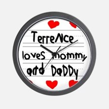 Terrence Loves Mommy and Daddy Wall Clock