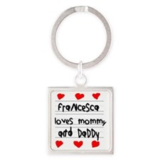 Francesca Loves Mommy and Daddy Square Keychain