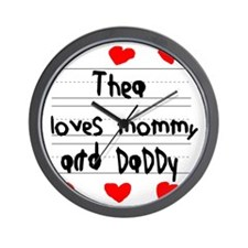 Thea Loves Mommy and Daddy Wall Clock
