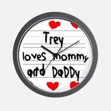 Trey Loves Mommy and Daddy Wall Clock