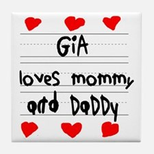 Gia Loves Mommy and Daddy Tile Coaster