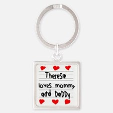 Theresa Loves Mommy and Daddy Square Keychain