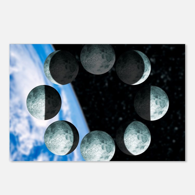 Phases of the Moon Postcards (Package of 8)