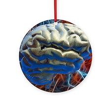 Neural network, computer artwork Round Ornament