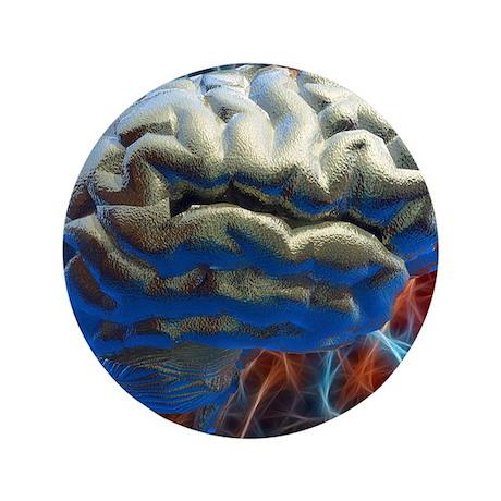 """Neural network, computer artwork 3.5"""" Button"""