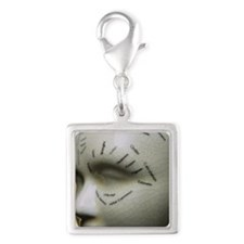 Phrenology head Silver Square Charm