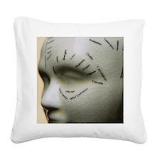 Phrenology head Square Canvas Pillow
