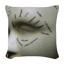 Phrenology head Woven Throw Pillow