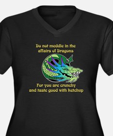 Dragon Crunchies Women's Plus Size V-Neck Dark T-S