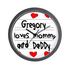 Gregory Loves Mommy and Daddy Wall Clock