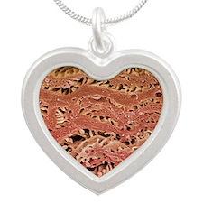Oesophagus epithelium, SEM Silver Heart Necklace