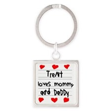 Trent Loves Mommy and Daddy Square Keychain