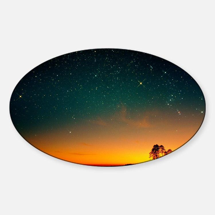 Orange sunset with Orion, Gemini Sticker (Oval)