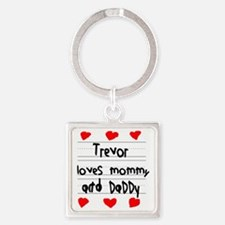 Trevor Loves Mommy and Daddy Square Keychain