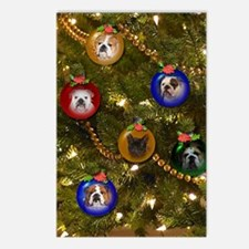Bulldog Ornament Christma Postcards (Package of 8)