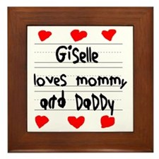 Giselle Loves Mommy and Daddy Framed Tile