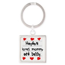 Hayden Loves Mommy and Daddy Square Keychain