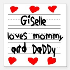 """Giselle Loves Mommy and  Square Car Magnet 3"""" x 3"""""""