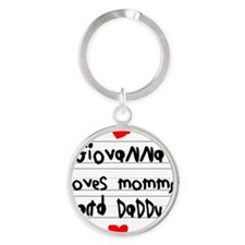 Giovanna Loves Mommy and Daddy Round Keychain